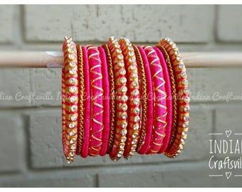 Kids Bangles - Silk Thread Bangles ~ Peachy Pink and Gold - A set of 14 Handmade Silk Thread Bangles. Toddler stacked bangles