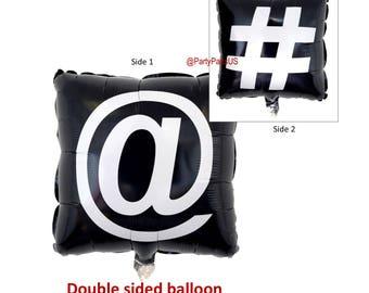 at symbol balloon, hashtag, graduation party decorations, cyber school, hash tag, social media, tween birthday, teens, online, internet