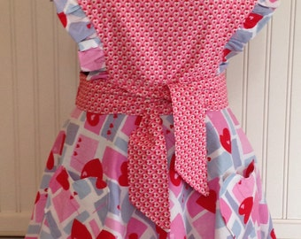 Valentines vintage style full Apron red pink blue hearts circle skirt sweetheart ruffled bodice heart pockets