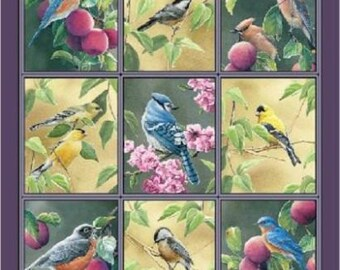 Wild Wings Fruit Of The Vine Birds Wall Hanging Cotton Quilting Panel 45574
