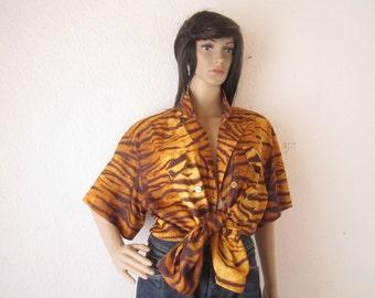 Vintage 80s blouse blouse Tiger Gäser model oversize