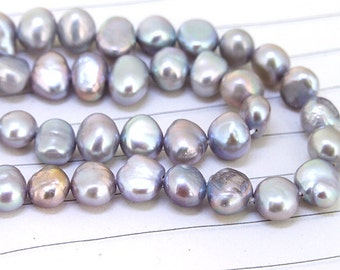 One Full Strand--- Luster Flat Grey  Red Pure Freshwater Pearl----6mm-7mm----about  55 Pieces----15.5 inch strand