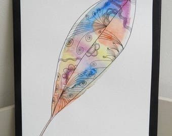 Original watercolor feather Bohemian style