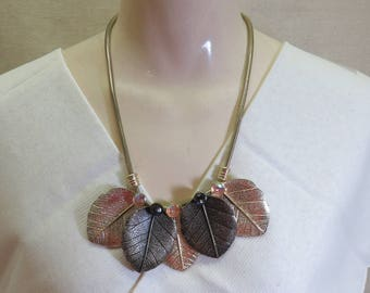 Big Chunky Colored Leaf Necklace, Fabulous 1980s Piece