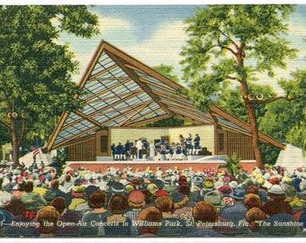 Open Air Concert Williams Park St Petersburg Florida 1957 postcard