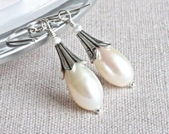 Flower Earrings, White Pearl Earrings, Sterling Silver Drop Earrings, Freshwater Pearl Earrings, Designer Earrings, Real Pearl Jewelry