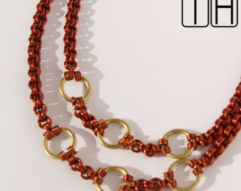 Enameled Copper and Brass Necklace