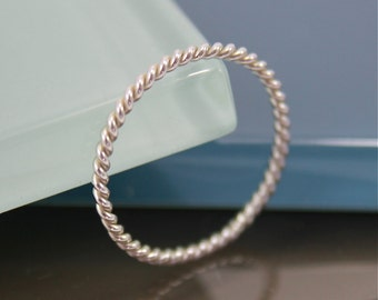 Silver Twist Ring Twisted Rope Skinny Thin Sterling Silver Band Ring Shiny Finish Eco Friendly Recycled Silver Stacking Spacer