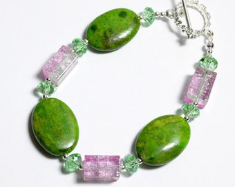 Watermelon Colors Bracelet, Apple Green Turquoise and Watermelon Crackle Glass