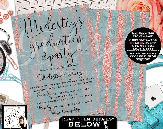 """Graduation Rose Gold Invitation, Blue and Peach Invitations, Glitter Modern, Double Sided Printable, Digital FILE ONLY! Gvites. 5x7"""""""