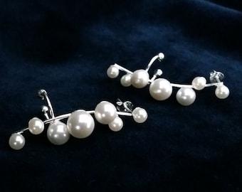 Ear Cuff Earrings - Pearl Ear Cuff Siete Perlas - Ear Cuffs - Sterling Silver Ear Cuff Earrings with Seven Pearls, Faux Pearl, Gift Idea