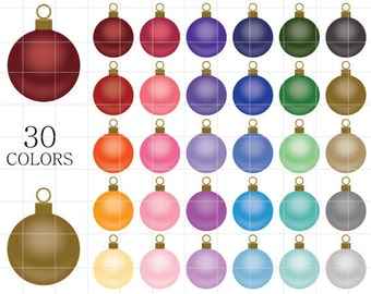 Christmas Ornaments  Clipart, Christmas Clipart, Ornaments Clipart, Matte Ornaments Clipart, Tinsel Clipart, Rainbow Ornaments Clipart