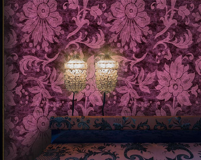 Burgundy Floral Textures Wallpaper, Damask Wallpaper, Vintage and retro wallpaper