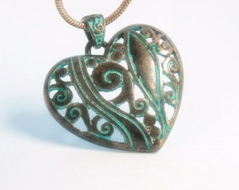 Patina Heart Pendant Necklace - Filigree Stamped Verdigris Patina Heart Pendant - Rustic - Art Deco - Boho - Heart Jewelry - Gift for Her
