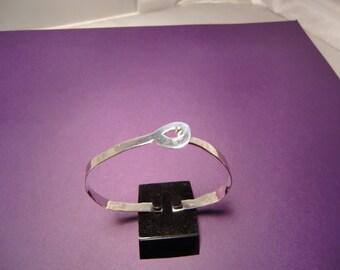 Sterling Silver Forged Locking Bangle - Handmade Hammered Silver Bracelet - Hook & Eye Cuff - Cold Forged Bracelet