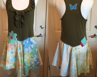 Boho - pixie -upcycled tunic/dress - one of a kind - eco friendly - artsy - wearable art - Fun and Funky - Casual and Comfortable - recycled