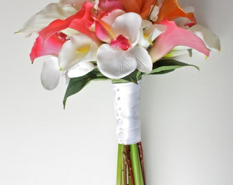 White, Pink & Orange Real Touch Bouquet (Calla Lilies, Roses, Orchids), Tropical Wedding
