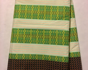 African Fabric - by the yard - Wax/Dutch - white, lime, white, black, orange - multi pattern