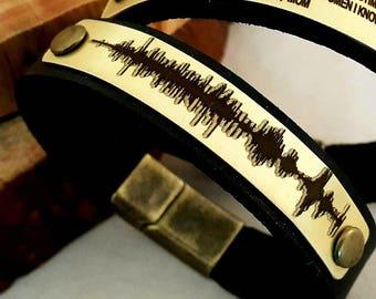 FAST SHIPPING / Gold Personalized Bracelet / Laser Engraving / Sound Wave Bracelet / Christmas Gifts / Custom Bracelet / Gold brass Plate /