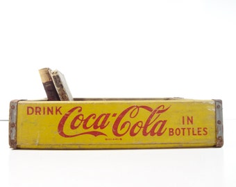 Vintage Wood Coca Cola Soda Pop Crate / Rustic Storage