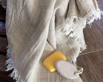 Sauna spa towel fringe large-Farmhouse towel-Large bath spa towel-premium softened linen towel-natural organic antiseptic-nonallergic towel