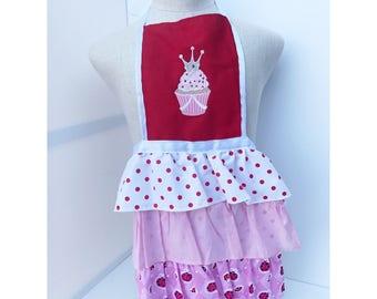 Red/pink/white ladybug ruffle apron