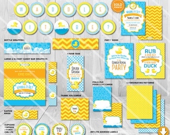 Waddle it Be Gender Reveal Party Decorations | Printable Party Supplies | Duck Baby Shower Package | Blue Yellow Theme | Instant Download