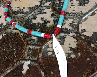 Tribal Southwest style necklace Turquoise Feather pendant Bohemian New Mexico Cowgirl