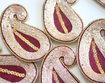 Golden Red Paisley - Applique paisley pair with zardosi gold embroidery (1 pair - 2 paisleys)