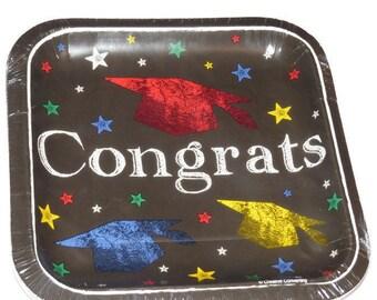 Congrats Graduation Plates, grad caps, 8CT black dessert plates, 7 inch square, Party Decorations, graduates 2017, Chalk Board Design, Paper