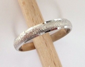 White gold wedding ring womens mens wedding band 3mm wide 14k gold