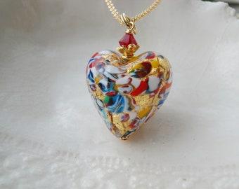 Murano Glass Millefiori Heart Necklace