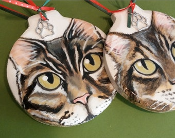 Custom Pet Portrait Ornament - Hand painted wood