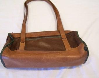 Brahmin brown leather vintage purse with dark green trim, c. 1980s
