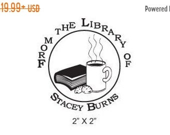 May Sale Custom Bookplate Ex Libris Coffee Cookies and a Book Rubber Stamp A03