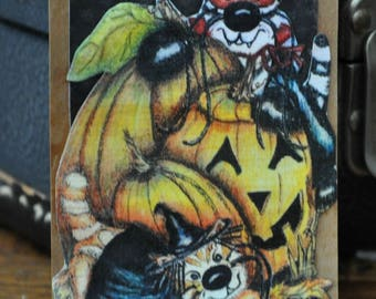 ACEO, Artist Trading Card,Collage of Original Print by Dolores Jablonski of Kittens playing hide and seek around Halloween pumpkins