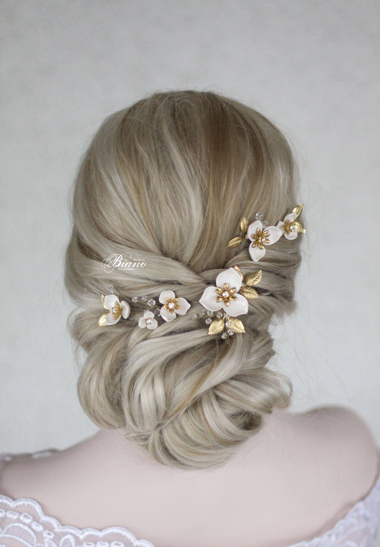 Bridal Hair Pins, Set of 5 Wedding Hair Pin, Wedding Flower Hair Pins, Bridal Hair Accessory, Wedding Hairpiece, Gold Leaf Hair Pin- LUNA