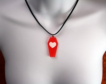 Gothic Red Coffin Necklace with Heart