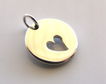 Sterling Silver Round Charm with Heart Cut Out
