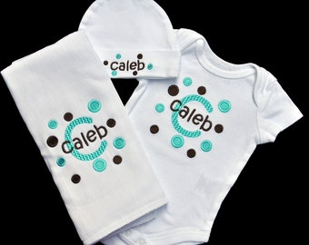 Matching Embroidered Polka Dot Baby Bodysuit Hat and Burpcloth (OR Bib) Set