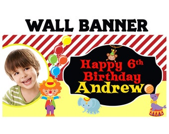 Circus Party Personalized Banner, Birthday Animals Indoor or Outdoor Banner - Vinyl Party Banner
