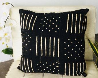 Black & White Large Mudcloth pillow