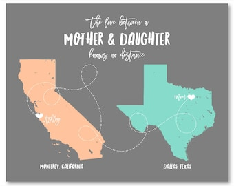 Mothers Day Gift from Daughter Mother Daughter Gift from Mom Daughter Map Daughter Mother Daughter Mom Mother Gift Daughter Long Distance