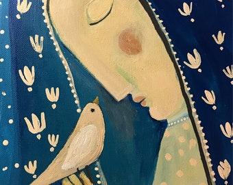 Young Mary with Song Bird by Rose Walton Original Painting