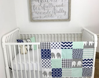 Baby Blanket, Nursery Decor, Baby Quilt, Baby Shower Gift, Elephant, Nursery, Mint, Navy Blue, Gray, Grey, White, Navy, Elephants, Baby Boy