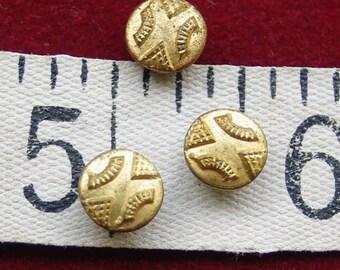 Tiny Antique Brass Buttons Miniature buttons Dolls Clothes Set 4