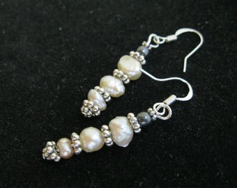 Fresh Water Pearl Earrings with Silver Daisies & Hematite Beads, Iron French Pierced Earwires