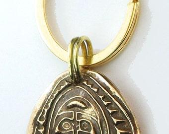 Maori Sepik Tribal Shield Spirit Guardian Key Ring or Necklace – Bronze - New Zeland Mask Pendant - Tribal Maori Mask Bronze - Keyring Gift