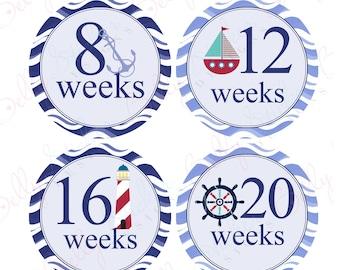 Pregnancy belly stickers Nautical (038-1P) PLUS FREE Labor Day Sticker