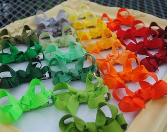 Itty Bitty Bow Set - Tiny Boutique Hairbows - Pick 15 Baby Bows - 2 Inch Hairbows - Mini Hair Clips - Baby Barrettes - Baby Girl Hair Bows